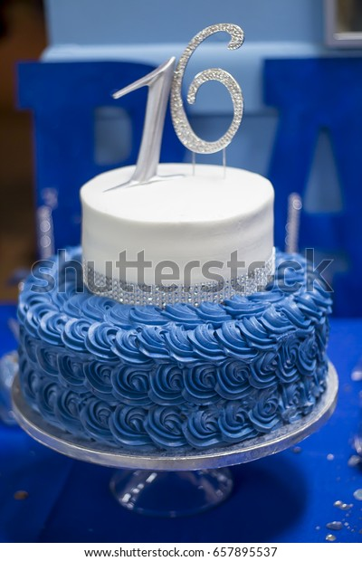 Admirable Blue Sweet 16 Birthday Cake Stock Photo Edit Now 657895537 Funny Birthday Cards Online Fluifree Goldxyz