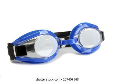blue swim goggles isolated on white