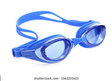 Blue swim goggles isolated on white. Beach object
