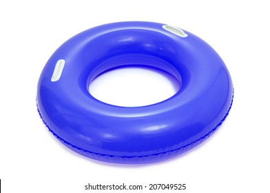 a blue swim ring on a white background