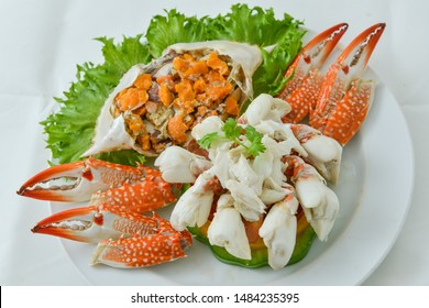 Blue swimming crab, Blue swimmer crab, Crab meat,  White background, Crab roe, Ready to eat