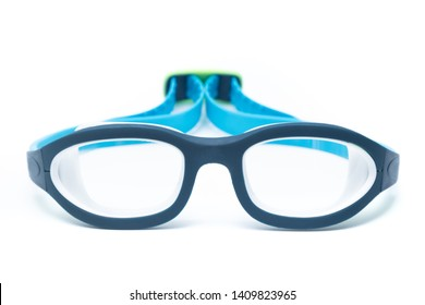 Blue swimming glasses isolated on white background.