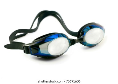blue swimming goggles isolated over white close up