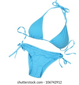 Blue swimsuit isolated on white background with clipping path