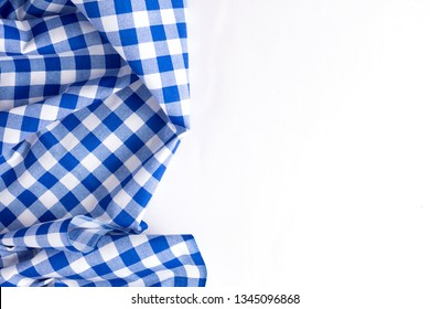 blue table cloth on white background