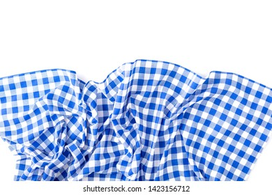 blue table cloth texture on white background