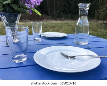 Blue table picnic