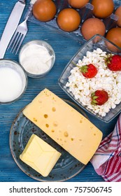 Blue table, served with dairy products, top view. Studio Photo