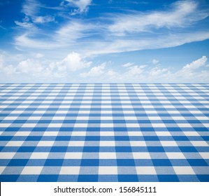 blue tablecloth backgound  with sky
