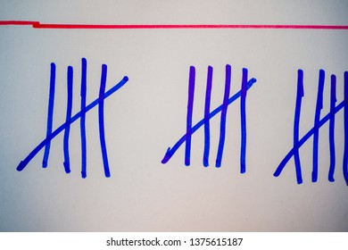 Blue tally marks like counting on the white board.