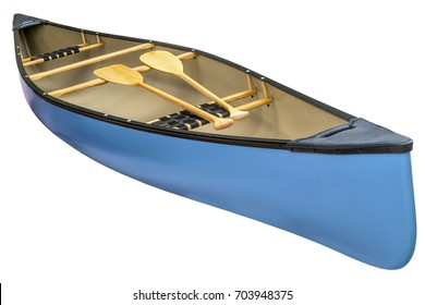 blue tandem canoe with a pair of wooden paddles,  isolated on white