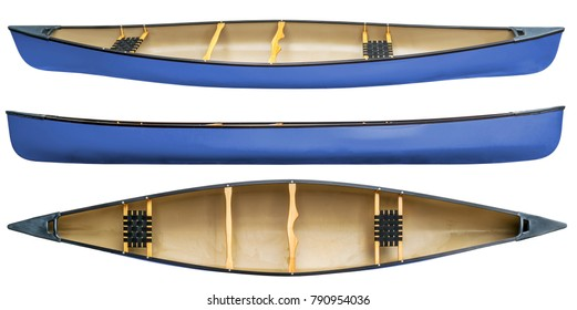 blue tandem canoe with wood seats isolated on white - top and side views