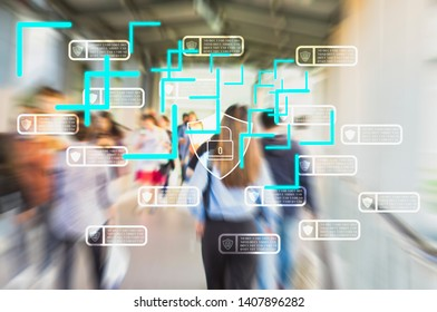 blue Technology process track people through wireless and satellite network with personal identity scan system,concept protect public information from cyber security threats by blockchain technologie