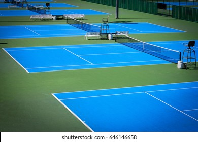 blue tennis court sport background