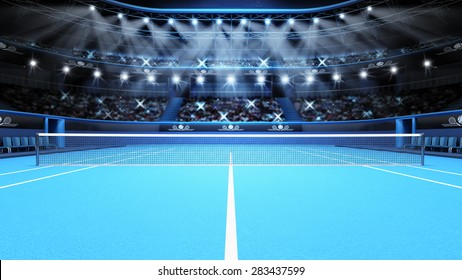blue tennis court view and stadium full of spectators with spotlights tennis sport theme render illustration background my own design