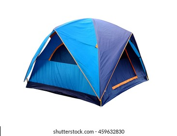 blue tent camping isolated