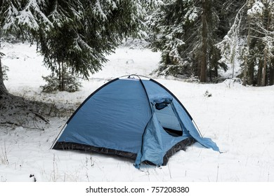Blue tent in the snow with coniferous forest in the background during day