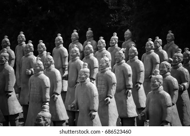 Blue terracotta warriors figures army. In Bacalhoa Buddha Eden garden in Portugal, July 2017