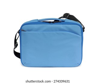 Blue textile laptop bag