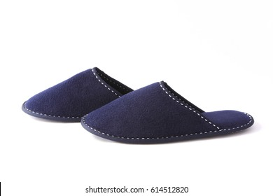 Blue textile slippers isolated on white background