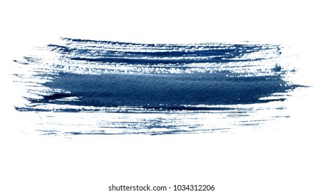 Blue textured grunge background on white paper. Ink painting banner.