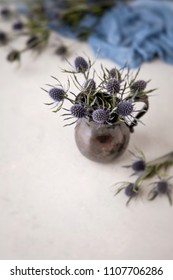 Blue Thistle Flower Still Life; Tarnished Silver Creamer as Vase