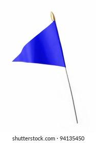 Blue three cornered flag isolated on white background