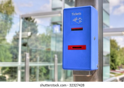 blue ticket validator (closeup)