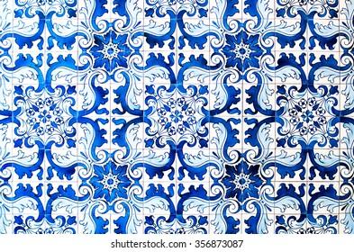 blue tile of macau town scene,china
