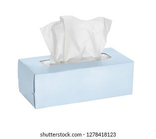 Blue tissue box isolated on white background - Image