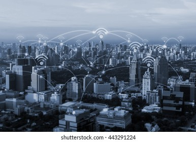 blue tone city scape and wifi and network connection concept