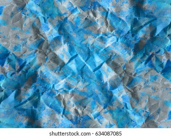 Blue Tone  Crumpled Paper Abstract Background