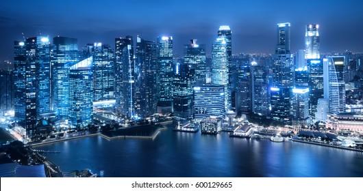 Blue tone modern cityscape skyline background.
