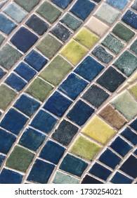 Blue tone mosaic wall decorative ornament. Mosaic as decorative background