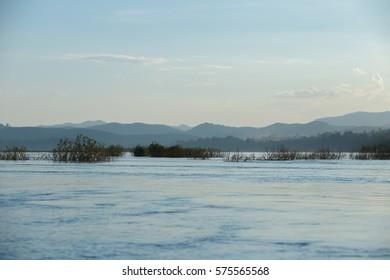 Blue tone river in thailand