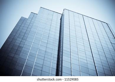 blue toned modern building high skyscraper