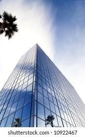 Blue toned tall office skyscraper