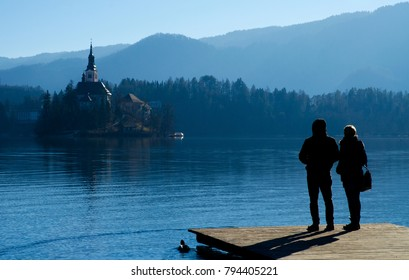 Blue Tones on a Wintery Lake Bled - January 2017 - Lake Bled, Slovenia