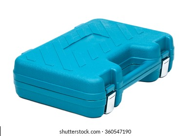 Blue toolbox isolated over white background
