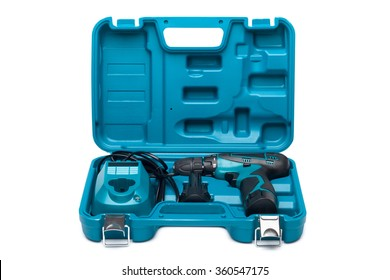 Blue toolbox with screw driver isolated over white background