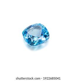 Blue Topaz Gemstone on white  background