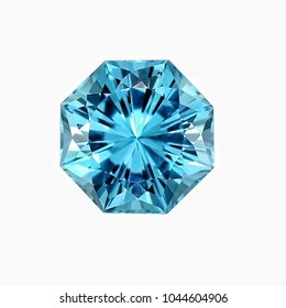 Blue topaz octagon shape with white backgrond