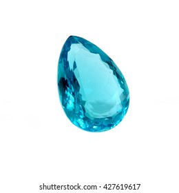 Blue Topaz Pear Shape Isolated on White.