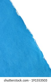 Blue torn blank paper over white as a background