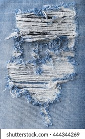 Blue torn denim jeans texture with space for text