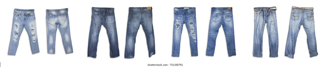 Blue Torn jeans collection isolated on white background - female torn jeans, male torn jeans, ripped jeans demin set.