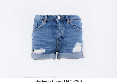 Blue torn Jeans shorts –front view