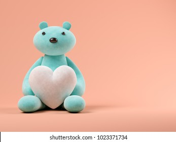 Blue toy bear with heart on pink background 3D illustration