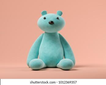 Blue toy bear on pink background 3D illustration