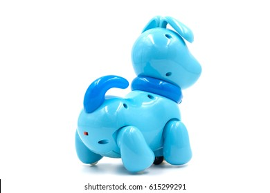 Blue Toy Robot Dog on Isolated White Background,back view
